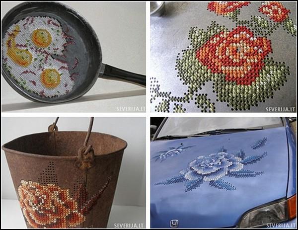 Вышивка по металлу от Северия Инсираускайте (6 фото)