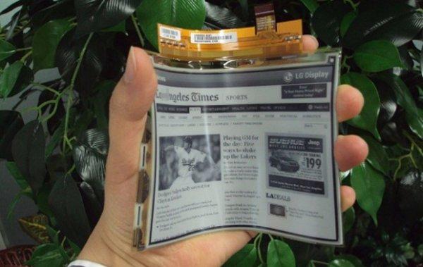 LG приступила к выпуску гибких «электробумажных» дисплеев.