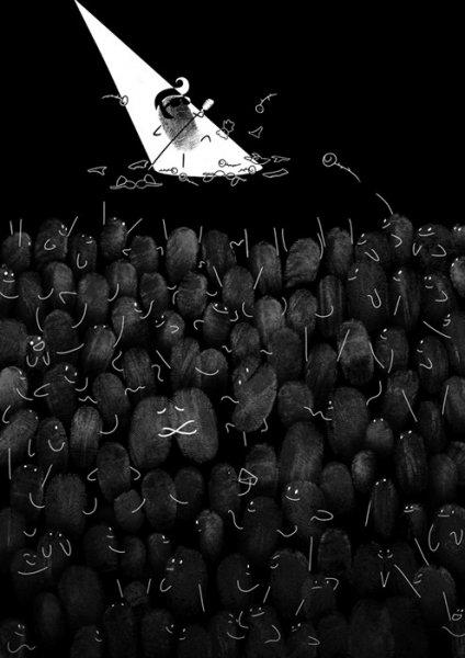 Забавные иллюстрации из отпечатков пальцев от Ингрид Аспок (Ingrid Aspock) (3 фото)