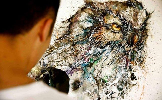 Портреты животных, созданные разбрызгиванием красок (17 фото)