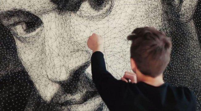 как делать портреты из ниток и гвоздей