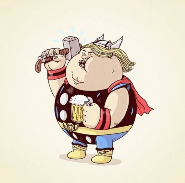 Толстые супергерои от Алекса Солиса (15 фото)