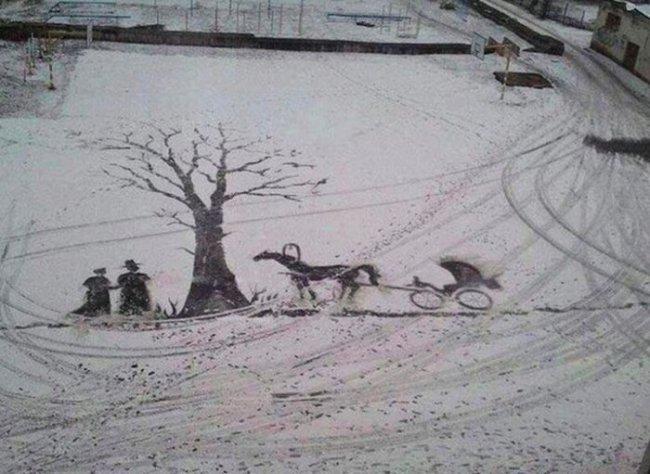 Рисунки дворника на снегу (5 фото)