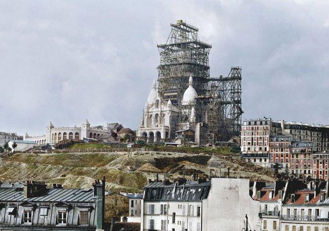 10 раскрашенных фотографий знаменитых зданий на стадии строительства (20 фото)