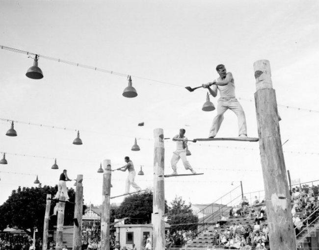 Соревнования дровосеков в Сиднее, 1957 год. (фото дня)