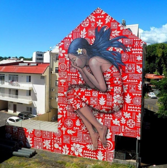 Невероятный стрит-арт на фасаде дома (фото дня)