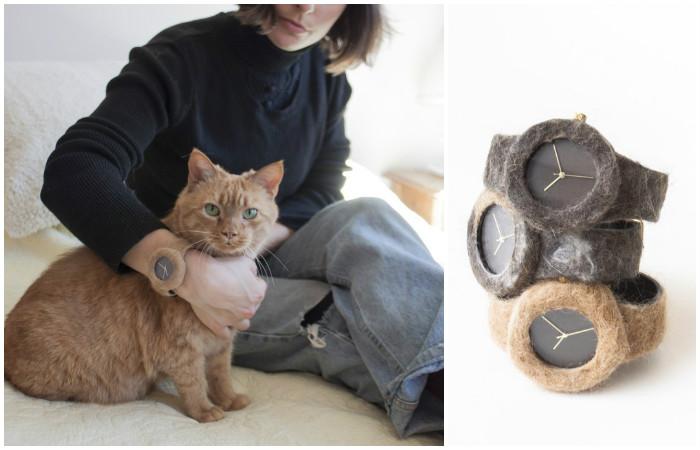 Дизайнерские часы из шерсти домашних животных