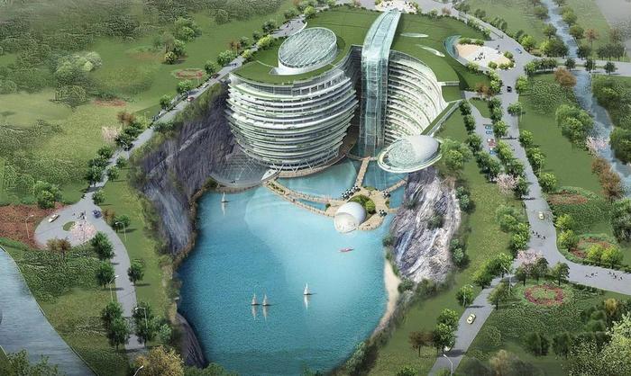 Строительство пятизвездочного отеля в китайском карьере подходит к завершению (8 фото + видео)