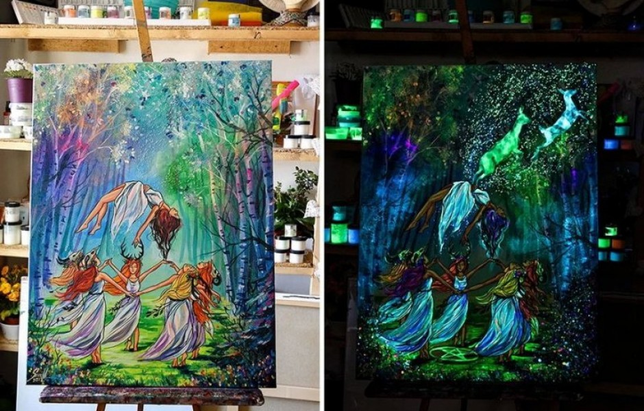Картины Вивьен Санисло, которые светятся в темноте (13 фото)
