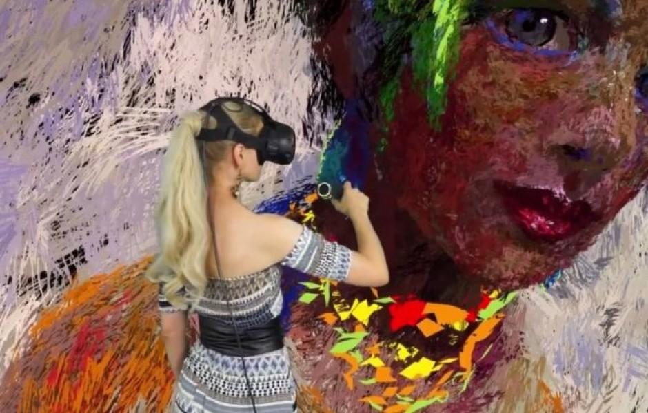 Художница создает объемную картину в виртуальной реальности
