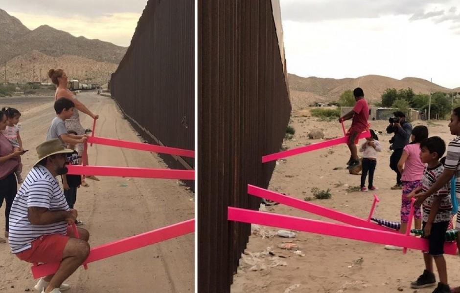 На границе США и Мексики появились розовые качели