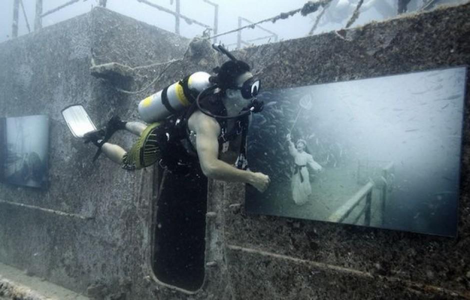 Выставка на затонувшем корабле  (6 фото)