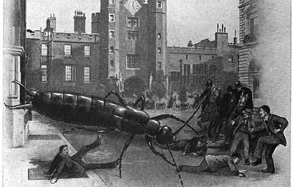 В 1909 году журнал Strand представил, что случится, если гигантские насекомые нападут на Лондон (5 фото)