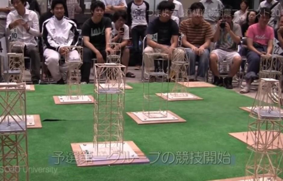 Конкурс на лучшую сейсмоустойчивость конструкции из зубочисток