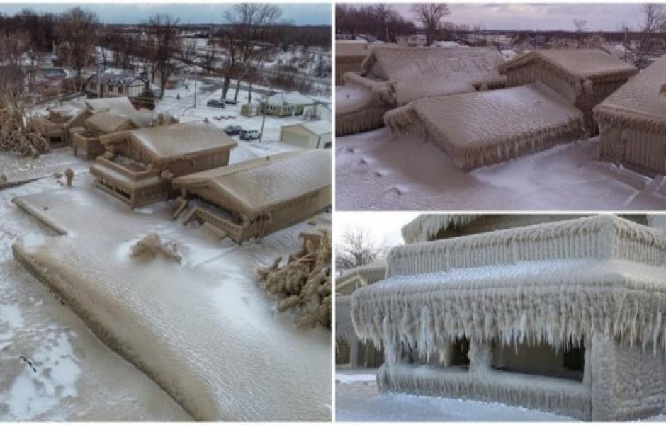 Ветер и низкая температура  превратили здания в ледяные дома (12 фото)