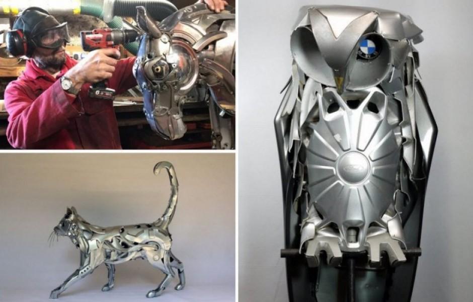 Скульптор превращает старые автомобильные колпаки в потрясающих существ