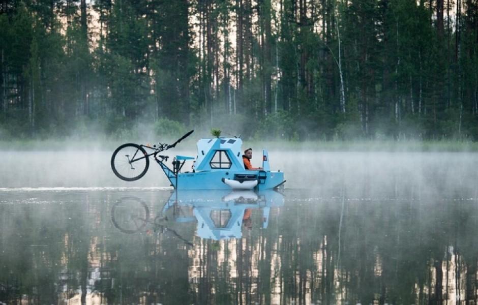 Любители приключений могут путешествовать по суше и воде на трехколесном электрическом велосипеде ? фото + видео