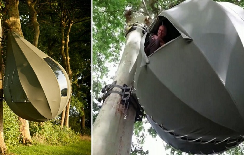 Появился экзотический вид палатки, где гости отдыхают, свисая с дерева