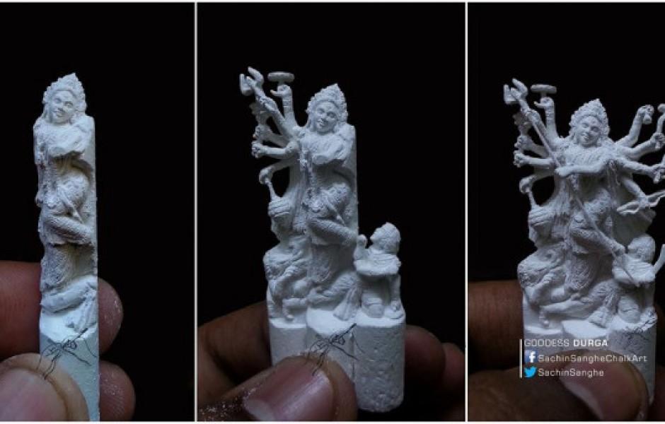 Индийский художник-самоучка вырезает из крошечных мелков миниатюрные скульптуры (11 фото + видео)