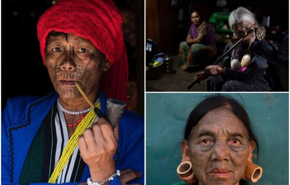 Последние представительницы с татуированными лицами племени из Мьянмы