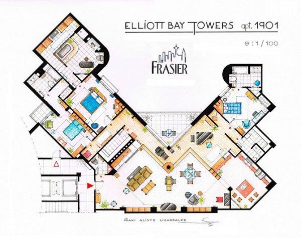 Планы квартир из знаменитых сериалов (6 фото)