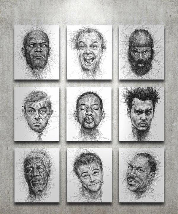 Портреты знаменитостей авторучкой от Винса Лоу (9 фото)