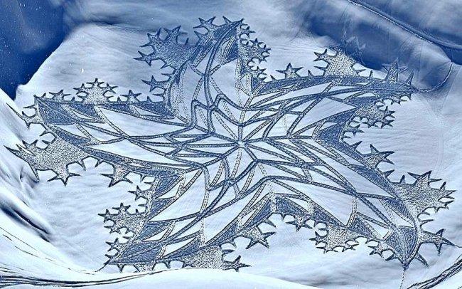 Зимние творения на снегу художника Саймона Бека (19 фото)