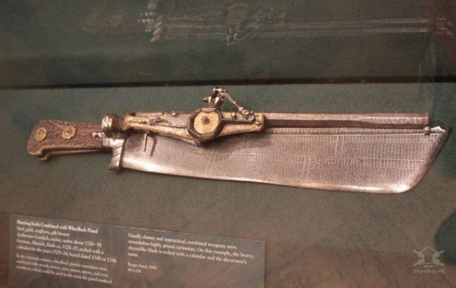 Средневековый охотничий нож совмещенный с пистолетом (6 фото)