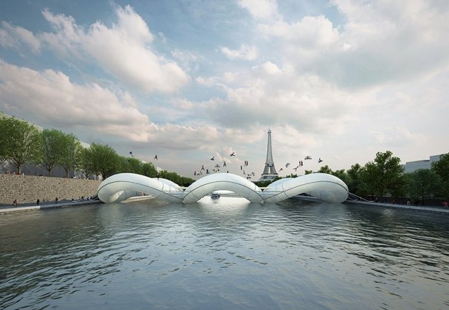 Мост-батут через Сену (4 фото)