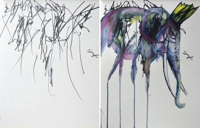 Дорисованные картины 2-х летней девочки (6 фото)