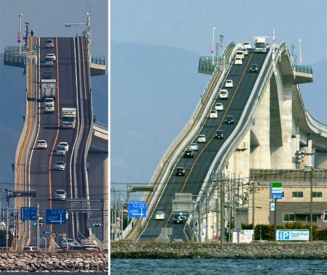 Мост в Японии с невероятным углом подъема (8 фото)