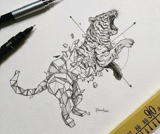 Дикие животные вырываются из плена геометрических фигур (11 фото)