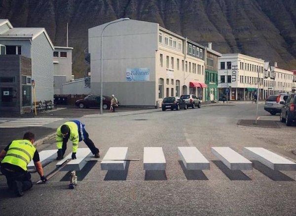 3D пешеходный переход в Исландии (6 фото)