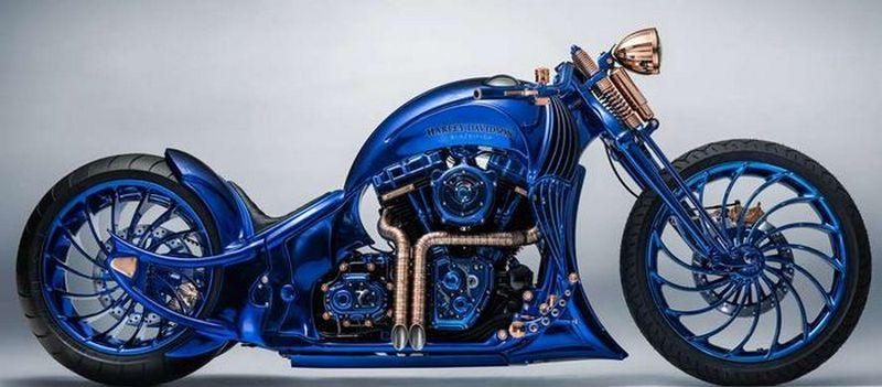Самый дорогой мотоцикл в мире Harley-Davidson Blue Edition
