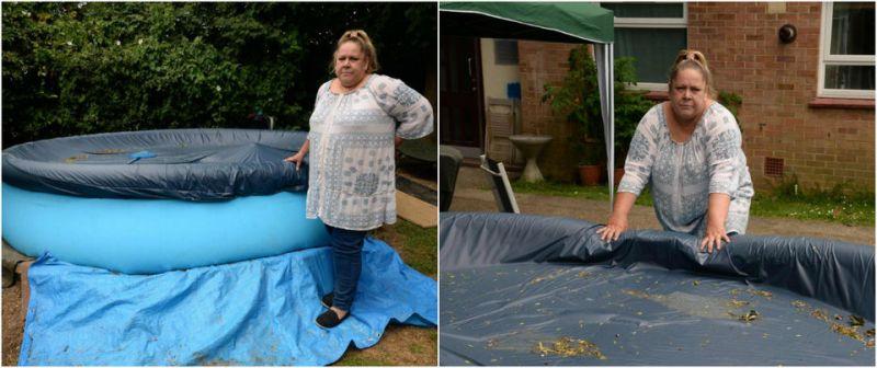 Эту женщину заставляют убрать детский бассейн, потому что в нем может утонуть грабитель