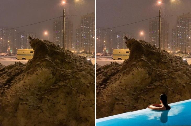 Сугроб в Питере стал настоящим героем фотожаб