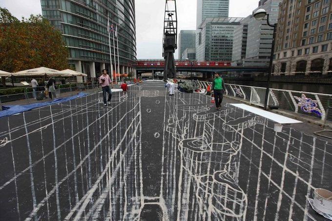 Установлен мировой рекорд по самому большому уличному 3D-рисунку в мире (18 фото)