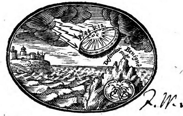 НЛО на обложке книги 18 века (3 фото)