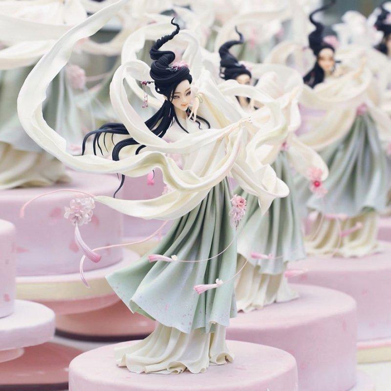 Удивительные украшения для тортов от китайского кондитера