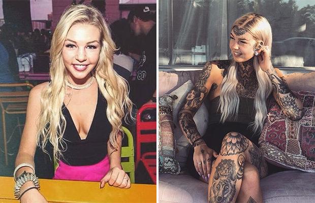 25-летняя девушка с 600 татуировками решила закрасить тату на лице тональным кремом и парень просто не узнал ее