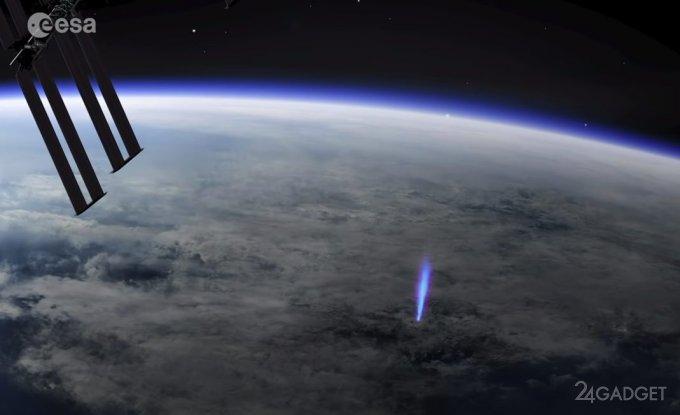 МКС зафиксировала уникальные молнии над поверхностью Земли ( 2 фото + 1 видео )